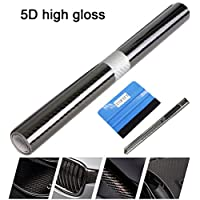 NewL 3D Carbon Fiber Vinyl Wrap - Outdoor Rated for Automotive Use - 30cm x 150cm knife + Hand Tool (5D carbon fiber)