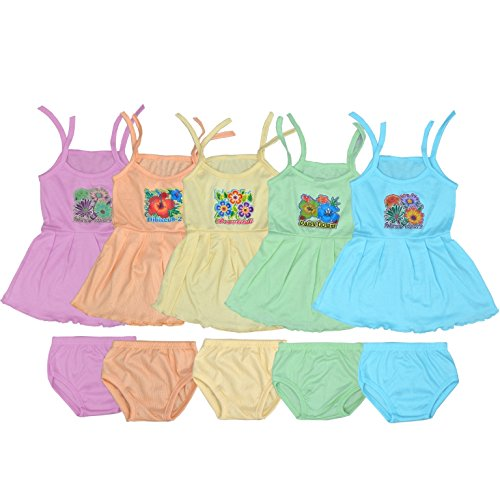 VINAB Cotton Baby Girl's Frock Set (TNO1ZOF45P_6 to 12 Months) - Pack of 5