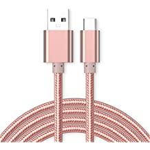 Kit Me Out ES Cable De Carga Micro USB [1M] para Microsoft Lumia 650, KMO, [3.1 A Cargador Rápida] Trenzado Nilón Nylon [USB 3.0 SuperSpeed USB] [Transferencia De Datos De Hasta 5 Gb/s] - Oro Rosa