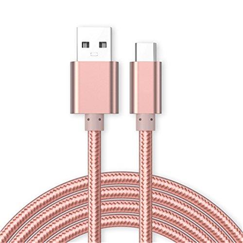 Kit Me Out Für Samsung Galaxy A50 [3M] Datenkabel USB C Typ C Kabel [USB 3.0] Schnelles Aufladen und Synchronisation [3.1 Amp Schnellladekabel] Nylon Ladekabel - Rose Gold Blackberry-handheld-batterie