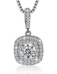 Femmes Collier Mode 925 Sterling Argent Belle Cristaux Pendentif Collier Bijoux Cadeau
