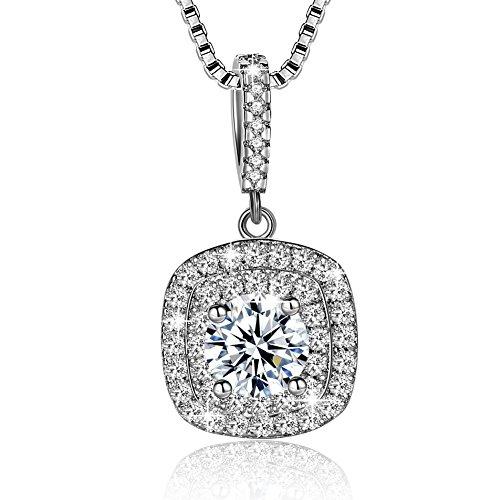 Collar Mujer Plata de Ley 925 Brillante Cristal Colgante Collares joyería regalo