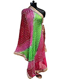Jaipur Rajasthani Art Silk Bandhej Style Dupatta With Heavy Gota Patti Border