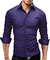 MERISH Dress Shirt for Men Slim Fit Long Sleeve Classic Collar Modell 01 Purple L