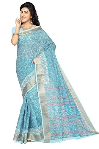 Rani Saahiba Cotton Saree With Blouse Piece (SKR1403_Blue-Mustard_One Size)
