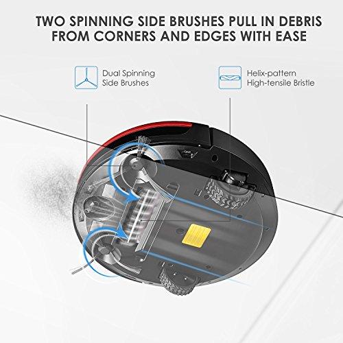 Deik Robot Aspirateur, Robot Aspirateur puissant 1200Pa, 30W avec bac à poussière 0.9L, filtre 3D HEPA et brosse électrique, convient pour les poils d'animaux, les planchers de bois