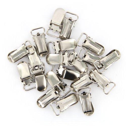 20 Stück Gurtband Haken Schnuller Hosenträger befestigt Silber (11 mm)
