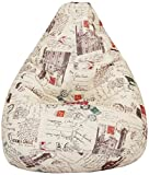 Amazon Brand - Solimo Parisian Dreams XXL Printed Bean Bag Cover Without Beans