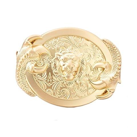 Gurscour Fashion Western Antique Brass Engraved Flower 3D Lion Belt Buckle