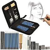 Artina Kit per Disegno Bari - Astuccio artisti Super accessoriato con matite per Schizzi Lapis Grafite carboncino Gomma