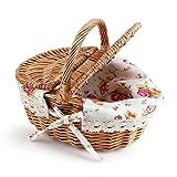 Canasta de Picnic - Canasta de Almacenamiento de Picnic de óvalo con Tapa Doble Mimbre de Lino Floral, Uso de Camping de Vacaciones, decoración para el hogar