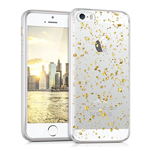 kwmobile Hülle für Apple iPhone SE / 5 / 5S - TPU Silikon Backcover Case Handy Schutzhülle - Cover klar Flocken Design Gold Transparent