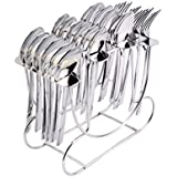 Shapes Stainless Steel Cutlery Set with Spoons and Forks - Pack of 24(Silver)