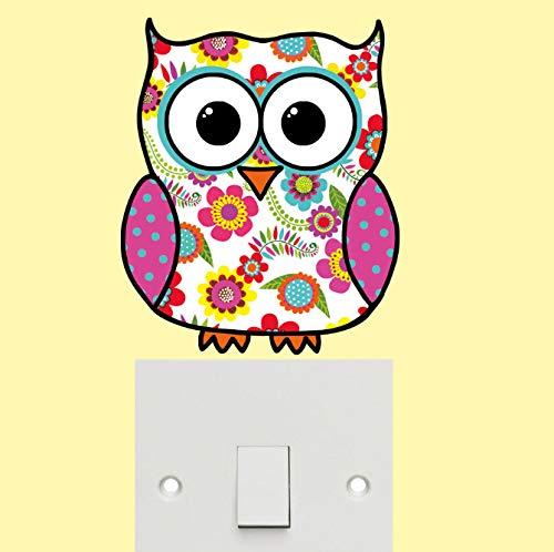 Wall Sticker Colorful Owl Car Notebook Bumper Sticker Art Applique Self-adhesive Wallpaper Home Decor 15.3 * 12.7cm -