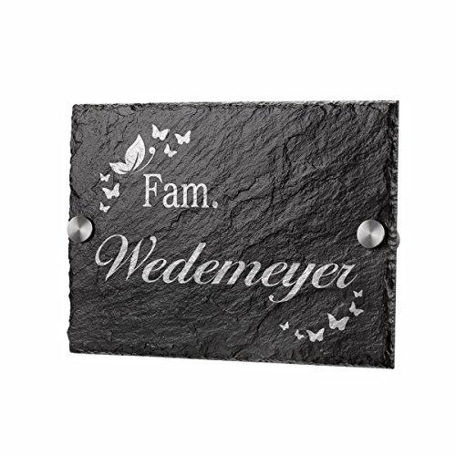 polar-effekt Schiefertafel Personalisiertes Türschild - Geschenkidee für Ehepaare und Familien zum Einzug - Namensschild Schieferplatte 20x14cm mit Gravur - Motiv Schmetterlinge