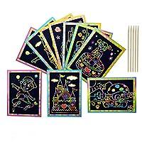 50 Sheets Rainbow Scratch Paper for Kids, ANBET Magic Scratch Art Paper Boards with Wooden Stylus Kindergarten, Early Education, Boy, Girl(Random Pattern)