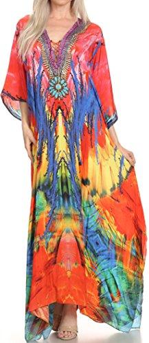 Sakkas SS1680 KF5091LAT - LongKaftan Georgettina Ligthweight gedruckt lange Kaftan Kleid / Vertuschung - Rosa / Blau -OS (Crepe-kleid Festes)