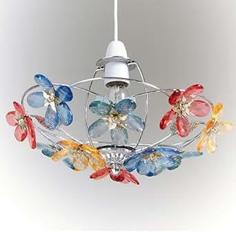 gl720-m 30cm Grande Fleur multicolores en acrylique Plafond Abat-Jour Suspension cadre chromé.