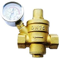 """Vanne de réduction de pression réglable, régulateur de pression d'eau de 15 mm avec barre de pression / Psi (DN15 1/2"""")"""
