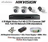 Hikvision Full HD (2MP) 4 CCTV Cameras & 4Ch.Full HD DVR Kit (All Accessories)