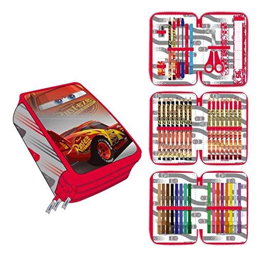 Cerdá disney cars astuccio 3 scomparti e 43 accessori scuola, bambino, rosso