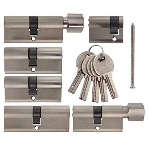Set3 6x Zylinderschloss gleichschließend verschiedene Größen 1x80mm 2x70mm 1x40mm / 1x60mm mit Knauf 1x 70 mm mit Knauf