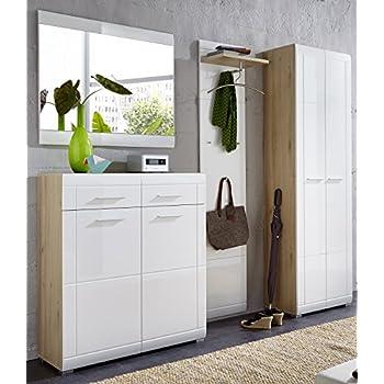 garderoben set bardo 4 teile wei eiche sonoma paneel. Black Bedroom Furniture Sets. Home Design Ideas