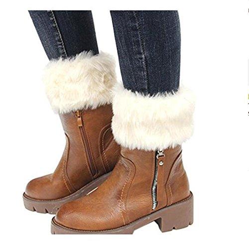 Tukistore, scaldamuscoli invernali da donna, in maglia, adatti per stivali, con pelliccia finta Beige Taglia unica