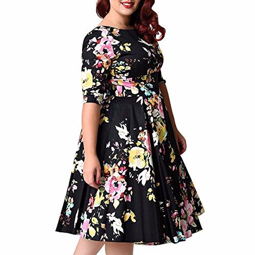 Shanxing Damen Blumen Partykleid Große Größe Kleid 3/4 Ärmel ...