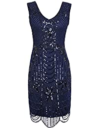 PrettyGuide Women's 1920s Gatsby Sequin Art Deco Scalloped Hem Cocktail Flapper Dress