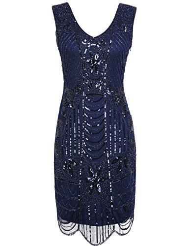 PrettyGuide Damen 1920er Gatsby Art Deco ¨¹berbackene Saum Cocktail Charleston Kleider XXL Royalblau
