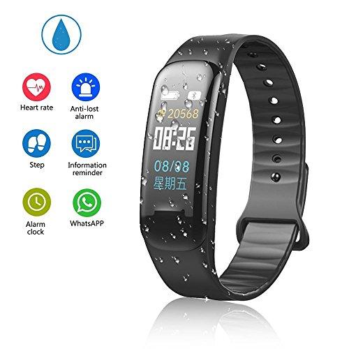 Teepao - Reloj de seguimiento de actividad básico, pulsera inteligente delgada, resistente al agua, con monitor de sueño, podómetro inteligente para pasos de distancia, calorías, color negro