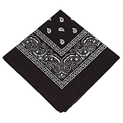 Pack of 3 X Paisley Bandana for Men / Women Kids Girls & Boys Bandanna Head scarf / Neck Scarf / Neckerchief / Handkerchief / Head Tie 100% Cotton (Black, Grey,Navy Blue)
