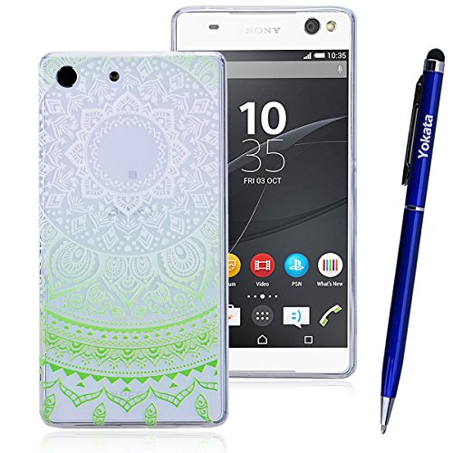 Für Sony Xperia M5, Yokata Crystal Hülle Gradient Case Soft Weich TPU Silikon Gel Backcover mit Mandala Design Schutzhülle Cover Klar Transparent Skin Schutz Schale Protective Cover - Grün