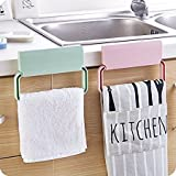 #9: Saiyam Self-Adhesive Towel Bar - Foldable Plastic Towel Hanger Rack Storage Organizer Holder for Kitchen Bathroom Hanging Tool Dish-Cloth Towel Bar