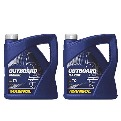 MANNOL 2 x 4L Outboard Marine/API TD NMMA TC-W3 2-Takt Bootsmotoröl (Tc-w3-motor Öl)