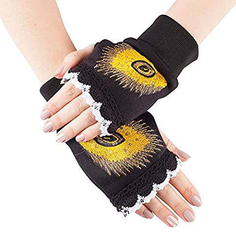 GLV156-Black Fingerless Winter Gloves with Lace Detail and Embroidered Sequined Yellow Feather