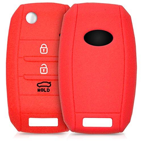 kwmobile Autoschlüssel Hülle für Kia - Silikon Schutzhülle Schlüsselhülle Cover für Kia 3-4-Tasten Autoschlüssel Rot
