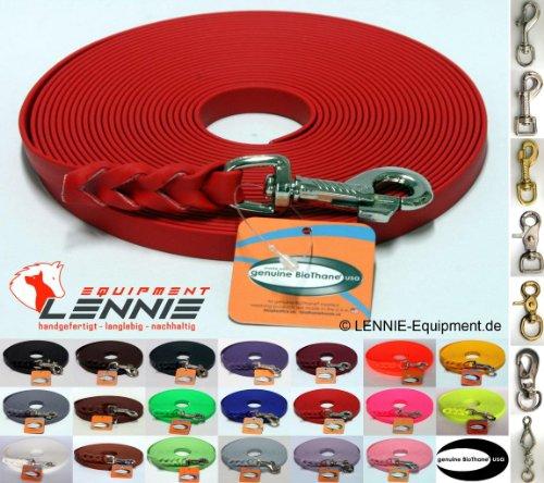 BioThane® Schleppleine 9 mm in 25 Farben [Rot] / 1-30 Meter [10m] / geflochten / ohne Handschlaufe