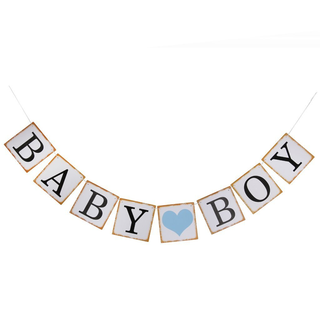 Foopp Baby Shower Bunting partito decorazione (Baby Boy Sign)
