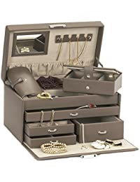 Duchess Mink Bonded Leather Jewellery Box with Separate Traveller and Jewellery Roll by Mele & Co with Premium Luxury Li