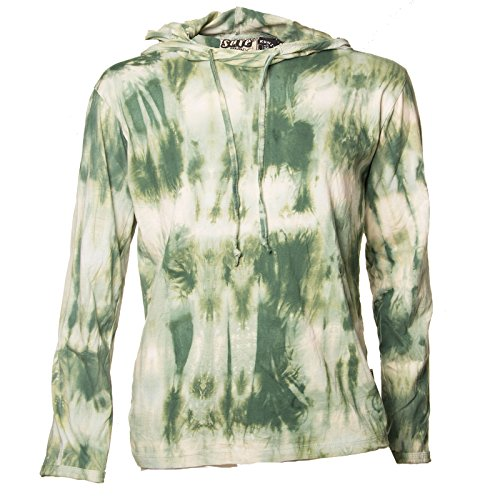 Kunst und Magie Sure Hoody Kapuzenshirt Tie Dye Batik Shirt , Größe:L, Farbe:Grün (Tie T-shirt Damen Dye Grüne)