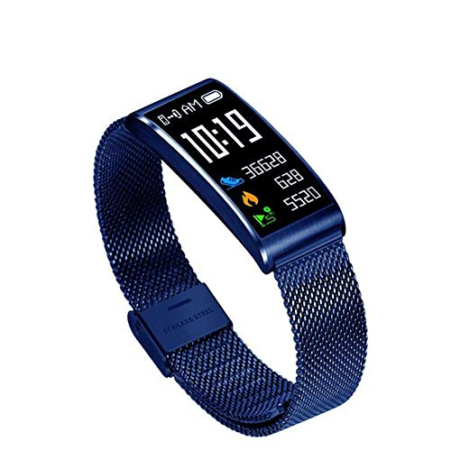Huhuswwbin orologio sportivo smart fitness bracciale ip68 pedometro cardiofrequenzimetro in metallo wristband tracker - blu