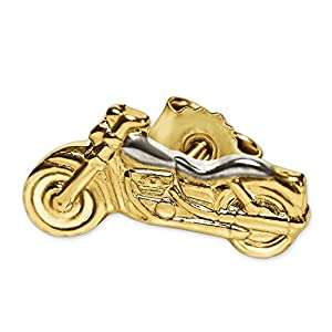 Clever Schmuck Goldener kleiner Ohrring als Single Ohrstecker Mini Motorrad 8 x 4 mm bicolor links glänzend 333 GOLD 8 KARAT für Damen oder Herren