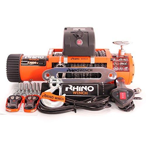 Rhino Seilwinde, 12V, robust, 6123 kg, mit synthetischem Dyneema Seil, mit 2 Fernbedienungen (Heavy-duty-batterie-kabel)