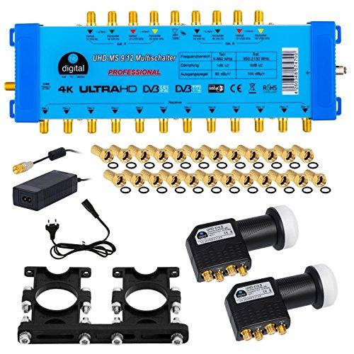 HB-Digital Quattro LNB Schwarz + Multischalter pmse 9/12 von HB-DIGITAL bis zu 2x Satelliten und bis zu 12 x Unabhängige Teilnehmer / Receiver für Full HDTV 3D 4K UHD mit Netzteil + 35 Vergoldete F-Stecker Gratis dazu
