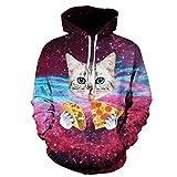 Cowesoo Männer/Frauen Hoodies drucken Pizza Cat Space Galaxy 3D-Sweatshirts dünnen Tops