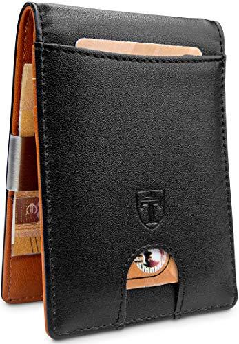 TRAVANDO  Portafoglio uomo con protezione RFID 'SYDNEY' Porta carte di credito con clip per contanti, Porta tessere slim tascabile, Porta documenti piccole, Raccoglitore tessere banconote sottile