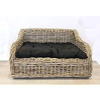 Keyhomestore Caseta Cama Perro y Gato de Bamboo con Suave cojín de algodón Negro Linea Animal