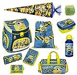 Familando Schulranzen-Set Minions 10 TLG. mit Federmappe, Dose, Flasche, große Schultüte 85cm und Regenschutz